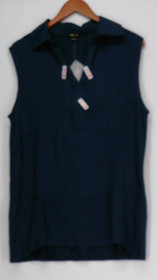 Iman Global Chic Sz L Sleeveless Woven and Knit Tank Top Blue Womens 467-143