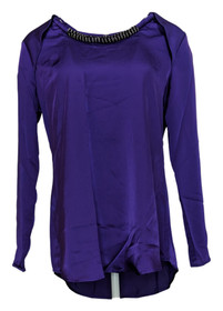 G by Giuliana Rancic Size XS Embellished Neck Line Blouse Top Bright Purple