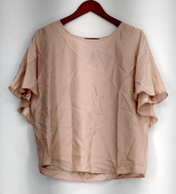 GK George Kotsiopoulos Top Sz 4 Woven Blouse w/ Faux Cape Back and Tank Set Pink