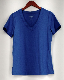 Liz Claiborne Top Sz S Short Sleeve V-Neck Stretch Athletic Top Blue