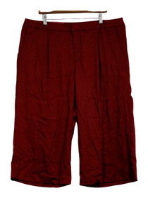 Merona Pants Sz 18 Wide Leg Front Zippered Side Pocketed Red Womens