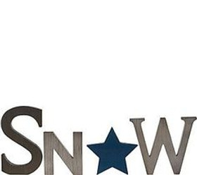 ED On Air Painted Rustic Wood Star Word Sign Snow NB H207123