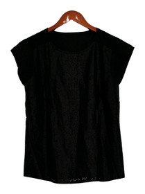 View by Walter Baker Top Sz S Faux Leather Short Sleeve Tee Black A256627