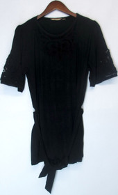 Motto Size M Elbow Sleeve Boatneck Knit Top w/ Lace Dark Black A200641