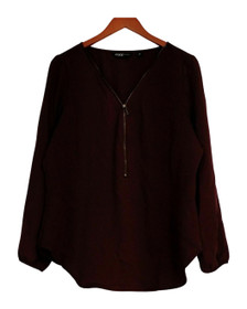 Edge by Jen Rade Top 14 Zip Front with Long Sleeve Wine Red New A258262
