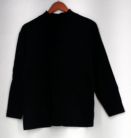 All Points by Reference Point Top Sz M Long Sleeve Mock Neck Tee Black