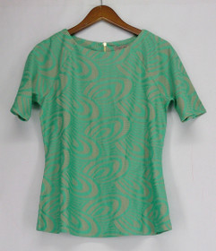 George Simonton Top S Novelty Crochet Knit Short Sleeve Green A262236
