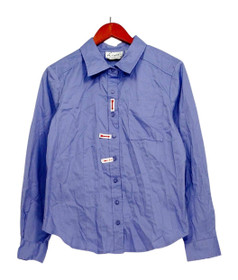 Linea by Linea Dell'Olio Top Sz M Button Front Shirt Periwinkle Blue A214116