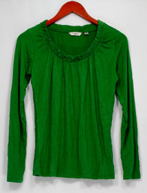 Liz Claiborne Top Sz XXS New York Gathered Scoopneck Juniper Green A219160