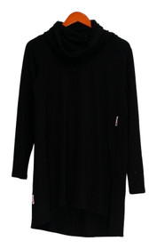 Lisa Rinner Collection Top Sz M Cowl Neckline w/ Long Sleeves Black A297909