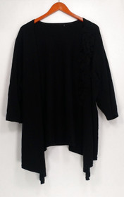 N/A Sweater Sz N/A Open Front Elbow Sleeves W/ Layered Mesh Trim Black
