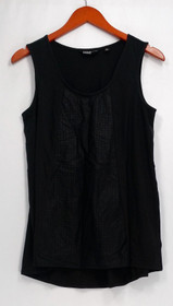 Edge by Jen Rade Top S Sleeveless Knit Tank w/ Faux Leather Detail Black A272486