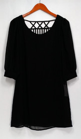 Want and Need Top Sz M 3/4 Sleeve Embellished Blouse Black