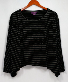 Zobha Top Sz S Striped Long Sleeve Crew Neck w/ Scarf Hemline Black