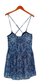 Want And Need Dress Sz S Printed Spaghetti Strap White / Blue