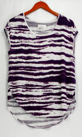Betro Simone Top Sz S Striped Sleeveless Hi Low Hemline Tee Purple