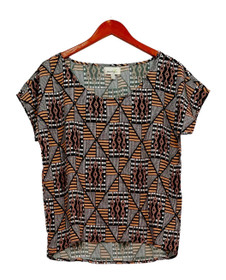 Poridge Top Sz XS Dolman Sleeve Printed w/ Rounded Neckline Black