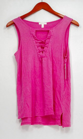 Abound Top Sz S Stretch Knit Tank w/ Laced Up Detail Pink