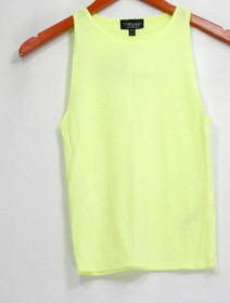 Top Shop Top Sz 4 Sleeveless Ribbed w/ Rounded Neckline Yellow