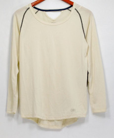H/H Training Top Sz S Long Sleeve w/ Seam Detail & Back Keyhole Ivory