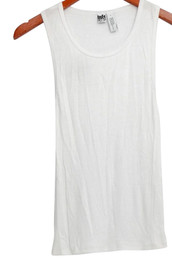 Free Press Top Sz S Sleeveless Ribbed w/ Rounded Neckline White