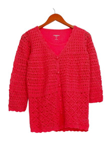Liz Claiborne Sweater 2XS (XXS) York Hand Crochet Cardigan and Tank Pink A232264