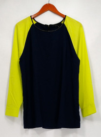 View by Walter Baker Top Sz 14 Color Block Long Sleeve Blouse Navy Blue A263081