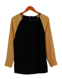 View by Walter Baker Top Sz 6 Color Block Long Sleeve Black A263081