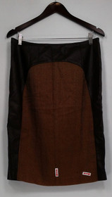 Mark of Style by Mark Zunino Skirt Sz 10 Faux Leather Brown A258164