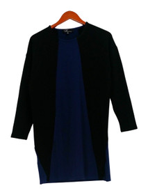 GK George Kotsiopoulos Top Sz XS 3/4 Sleeve Color-Block Black/Blue A267497