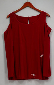 Carol Wior Top Sz XL Long Sleeve Shaping w/ Cold Shoulder Pink A229098