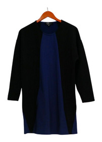 GK George Kotsiopoulos Top Sz S 3/4 Sleeve Color-Block Black/ Blue A267497