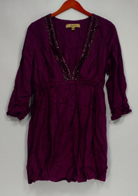 Motto Size M 3/4 Sleeve Embellished Neckline Tunic Purple Top A203133