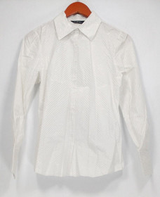 Elisabeth Hasselbeck Size 4 Striped Long Sleeve Button Down White Top A89248