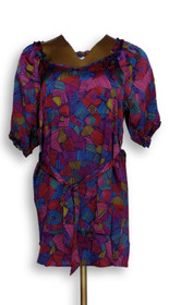 Marc Bouwer Sz S Printed Short Sleeve Belted Tunic Purple Top A202942
