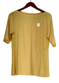 Charter Club Plus Size Top 0X Short Sleeve Boat Neck Tee Yellow Womens