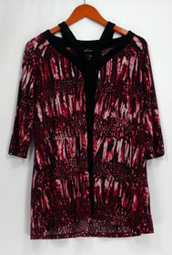 SA by Seth Aaron Top Sz M Printed Detailed 3/4 Sleeve Red A287227