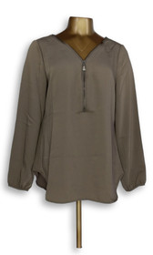 Edge by Jen Rade Women's Top Sz 10 Edge by Jen Rade Zip Front Brown A276891