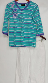 Bob Mackie Set Sz XS Floral Embroidered Knit Top And Knit Pants White a290695