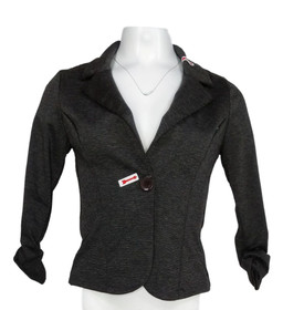 Auline Collection Women's Sz Basic Jacket S Single Button Notched Collar Black