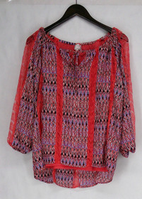 """Hot in Hollywood Size S Maya"""" Blouse w/ Lace Detail Multi-Color Top Womens"""