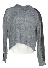 Hippie Rose Women's Sz Sweater L Lace Sleeve Hooded Gray