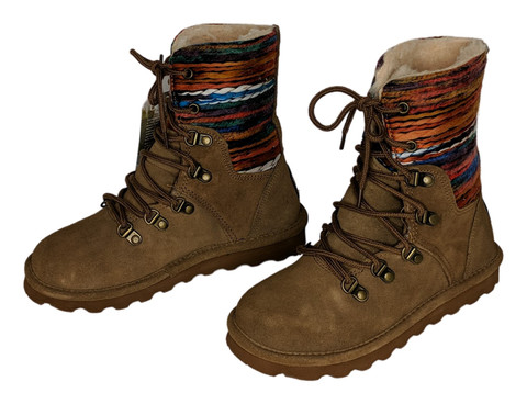 Bearpaw Maria Lace Up Boots Suede Women's Sz 5 M Hickory Brown