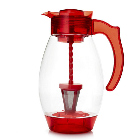 Cook's Companion 4-in-1 Chill Mix Infuse & Filter 3QT Tritan Pitcher Red