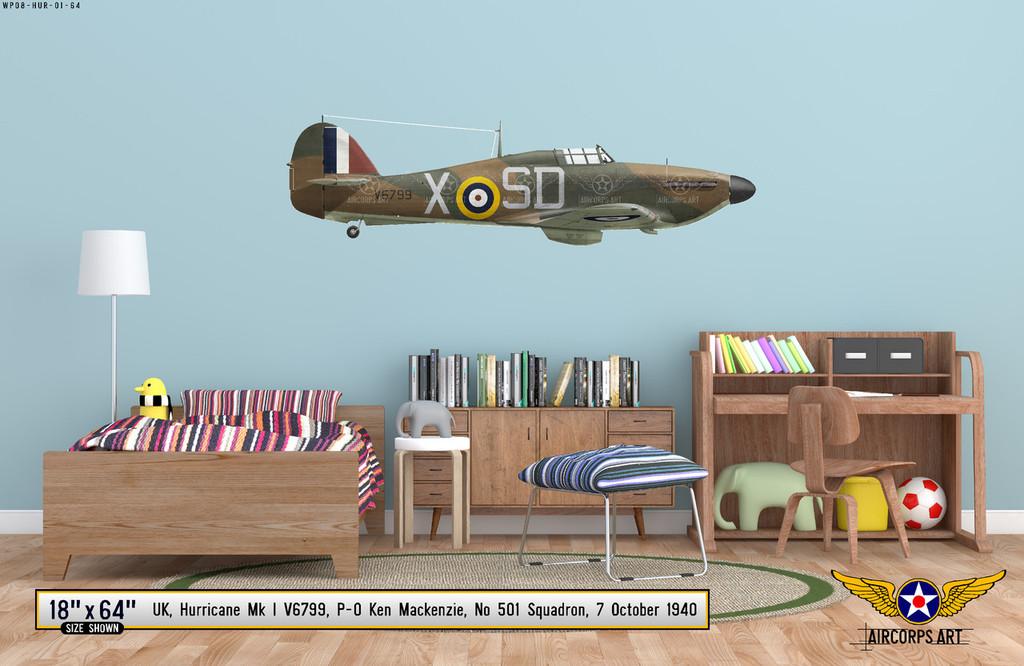 Hawker Hurricane Mk I Decorative Military Aircraft Profile on Kids Room Wall Mockup Display