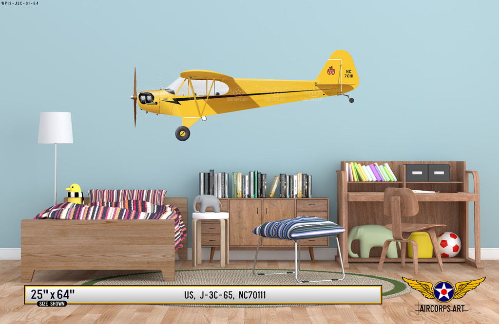J-3 Piper Cub Decorative Aircraft Profile on Kids Room Wall Mockup Display