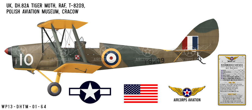"DH.82A ""Tiger Moth"" Decorative Military Aircraft Profile"