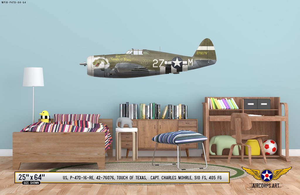"P-47D Thunderbolt ""Touch of Texas"" Decorative Military Aircraft Profile on Kids Room Wall Mockup Display"