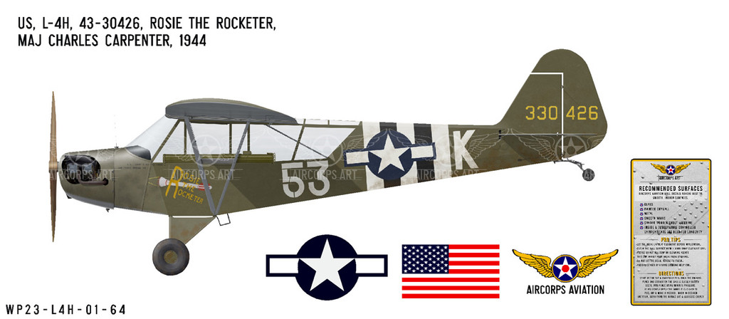 """L-4H Grasshopper """"Rosie the Rocketer"""" Decorative Military Aircraft Profile Print Wall Art Decal"""