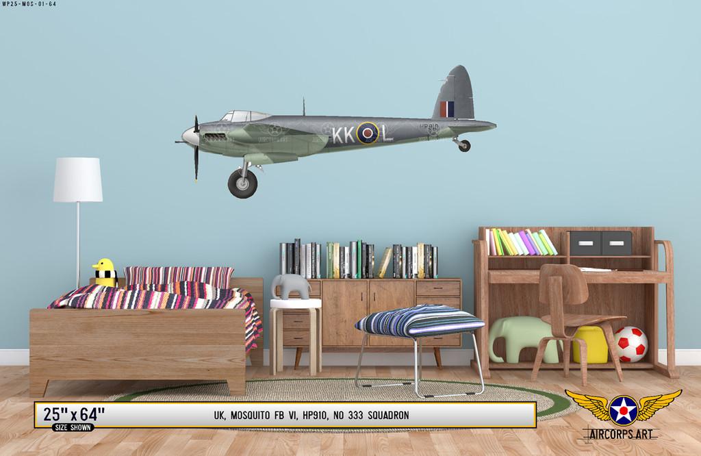 Mosquito FB VI Decorative Military Aircraft Profile Print Wall Art Decal